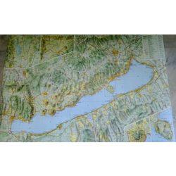 Balaton falitérkép fóliás Cartographia hajtott térképből laminálva  1:90 000   96 x 67 cm