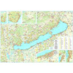 Balaton falitérkép keretezett Szarvas hajtogatott térképből fóliázva 1:50 000,1:100 000 125x85