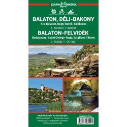 Vízálló Balaton turistatérkép, laminált Balaton-felvidék turistatérkép 1:25 000 Balaton és környéke, Balaton kerékpáros térkép, Déli-Bakony térkép