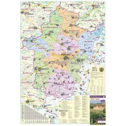 Békés megye térkép, Békés megye falitérkép fémléces, fóliás 70x100 cm