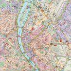 Budapest falitérkép belváros látnivalókkal 100 x 100 cm
