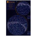 Csillagtérkép falitérkép, könyöklő A4 lap 21x30 cm Laminált csillagászati térkép.