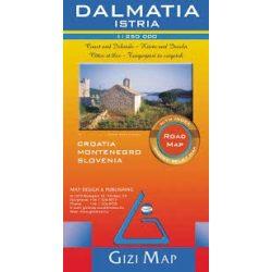 Dalmácia, Isztria autós térkép térkép Gizi Map 1:250 000