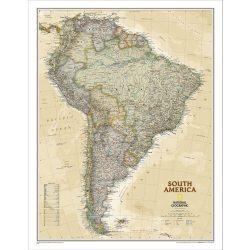 Dél-Amerika falitérkép National Geographic antik színezésű  62x80 cm