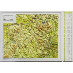 Dunakanyar dombortérkép, Dunazug-hegyvidék dombortérkép, Budapest és környéke dombortérkép MH. 1:120 000 68x56 cm