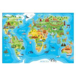 Educa Világtérkép puzzle - Híres építmények - 150 db-os puzzle 48x34 cm