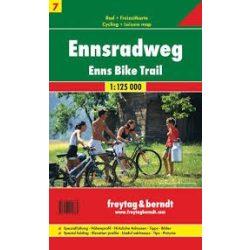RK 7 Enns kerékpárút Ennsradweg kerékpáros térkép Freytag 1: 125 000