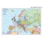 Európa falitérkép, Európa országai falitérkép lécezett angol nyelvű 140x100