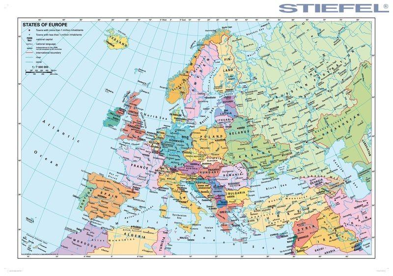 Europa Faliterkep Europa Orszagai Faliterkep Femleccel Angol