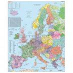Európa postai irányítószámos falitérkép fémléccel, lefóliázva Stiefel 1:3 700 000 100x122 cm álló formátum