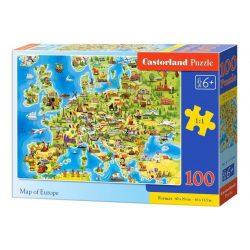 Európa térkép puzzle 100 db-os Castorland 40 x 29 cm