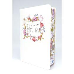 Közepes Biblia Károli Gáspár fordítás - Fehér Színes Virágos  12x18,5 cm
