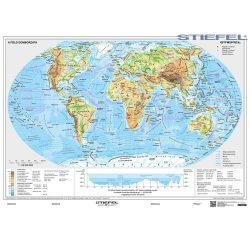 A Föld domborzati és politikai térképe, Kétoldalas Föld domborzata és világ országai falitérkép faléccel fóliával 160x120 cm