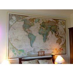 Világ országai falitérkép antikolt keretezett National Geographic 123x82 angol