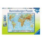 Föld domborzata térkép puzzle, Ravensburger Puzzle 300 db-os képkirakó  49 x 36 cm