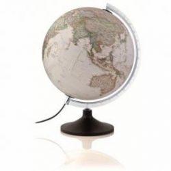 Világító földgömb 30 cm National Geographic antik színű, műanyag talppal