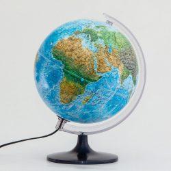 Világító földgömb 25 cm növényzet ábrázolással, duó földgömb, kétfunkciós, Belma magyar világítós gömb - magassági, mélységi színezéssel