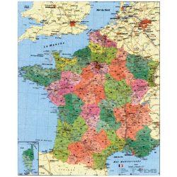 Franciaország irányítószámos térkép, fóliázott, fémléces Franciaország falitérkép
