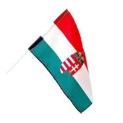 Integetős  címeres magyar zászló műanyag pálcikával 15x23 cm