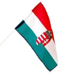 Integetős magyar zászló címeres, műanyag pálcikás zászló 22x14 cm
