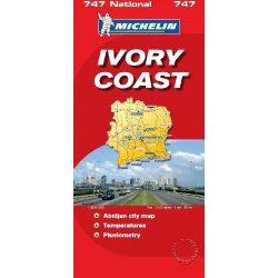 747. Elefántcsontpart térkép, Ivory Coast térkép Michelin 1:800 000