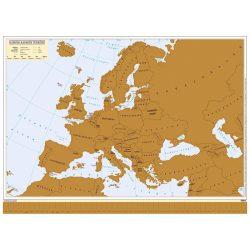 Európa kaparós térképe magyar nyelvű poszter, arany színű lekaparható felülettel 78 x 57 cm