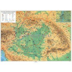 Kárpát-Medence falitérkép fémléces 100x70 cm Magyar történeti emlékek a Kárpát-Medencében falitérkép