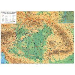 Magyar történeti emlékek a Kárpát-Medencében térkép, Kárpát-medence falitérkép faléces, fóliás kétoldalas 160x120 cm