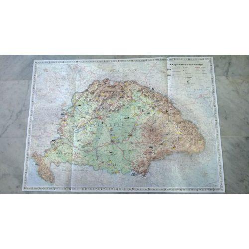 A Kárpát-medence nevezetességei fóliázott falitérkép Corvina 1:160 000 92x66 cm