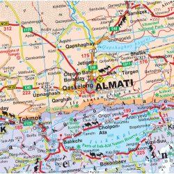 Kazahsztán térkép, Kazahsztán autós térkép Gizi Map Kazakhstan térkép 1:3 000 000