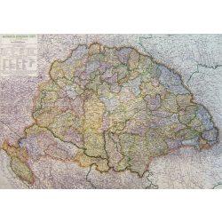 Magyarország közigazgatás 1918-ban 1942 évi határokkal faléces antik falitérkép Kogutowicz Topomap 110x79