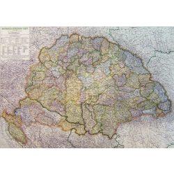 Magyarország közigazgatás 1918-ban 1942 évi határokkal keretezett antik falitérkép Kogutowicz Topomap 120x88