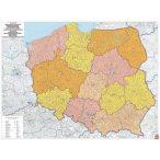 Lengyelország postai irányítószámos térkép műanyaghengerben térkép 1:700 000 térkép (95 x 112 cm)  Freytag térkép PLK PL P