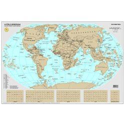 Magyar nyelvű kaparós világtérkép 84 x 57 cm, kaparós térkép papírhengerben