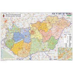 Magyarország falitérkép kétoldalas Magyarország könyöklő - közigazgatás és közlekedés Stiefel 65x45 cm