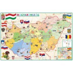 Magyarország térkép gyerekeknek Magyarország közigazgatása és domborzata fóliás asztali könyöklő kétoldalas