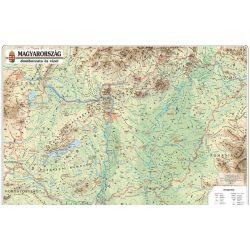 Magyarország domborzata és vizei falitérkép 60x40 cm léces-fóliás