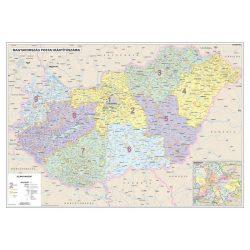 Magyarország falitérkép, Magyarország postai irányítószámos térképe fóliás-fémléces 140x100 cm  1:400 000