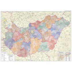 Magyarország közigazgatása falitérkép járás színezéssel 160x120 cm - fóliázott