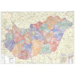 Magyarország falitérkép fóliázott, Magyarország közigazgatási térkép, Magyarország térkép 160x120 cm  2019