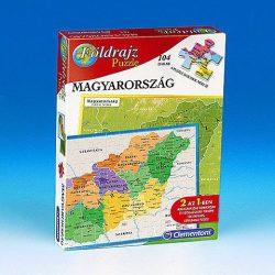 Magyarország térkép puzzle, Magyarország puzzle 104 db-os Clementoni Magyarország domborzata és megyéi puzzle 2 az 1-ben kirakó