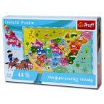 Magyarország térkép puzzle, Magyarország puzzle 44 db-os oktató puzzle Magyarország megyéi puzzle Trefl