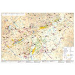 Magyarország borvidékei térkép Magyarország borvidékei és történelmi emlékhelyei falitérkép fémléccel Stiefel  100x70 cm