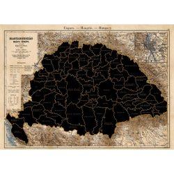 Történelmi Magyarország kaparós térképe  (1890) 89 x 68 cm, kaparós Magyarország térkép papírhengerben