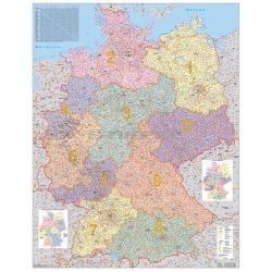 Németország irányítószámos térkép, fóliázott, fémléces Németország falitérkép