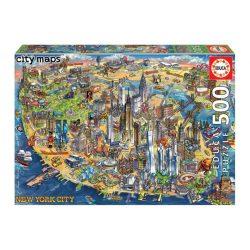 New York térkép puzzle, Educa Puzzle kirakó 500 db  48 x 34 cm