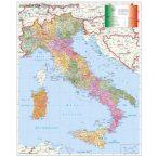 Olaszország postai irányítószámos falitérkép fémléces, fóliás Stiefel 140x100 cm