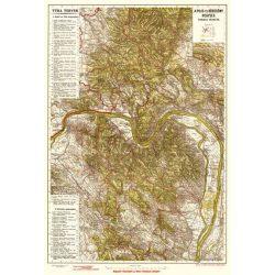 Pilis térkép és Börzsöny hegység turista térképe antik falitérkép HM  75x53 cm