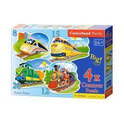 Vicces vonatok puzzle - 4 az 1-ben (8, 12, 15, 20 db-os) puzzle Castorland