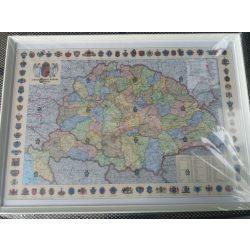 Régi Magyarország falitérkép keretezett 70x50 cm Magyar Szent Korona Országai, Régi Magyarország politikai térkép 1914